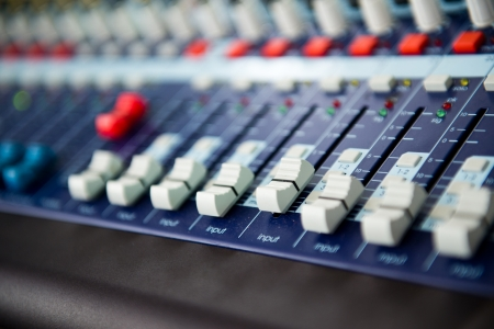 buttons equipment for sound mixer control  photo