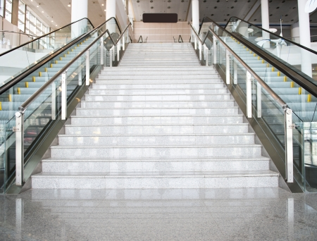 escalators and stairs in new modern building.