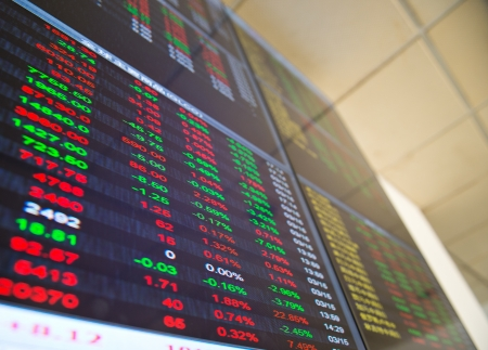 stock ticker board: Display of Stock market quotes in China.