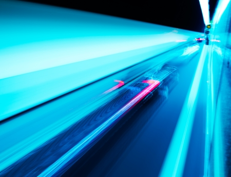 highspeed: View from Side of high-speed car in the tunnel, Motion Blur Stock Photo