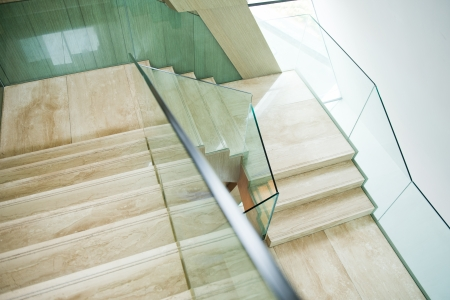 handrail: Luxury room with marble stairs. Stock Photo