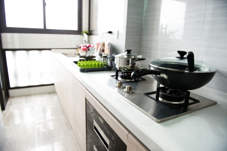 shiny floor: A clean modern kitchen in a modern home