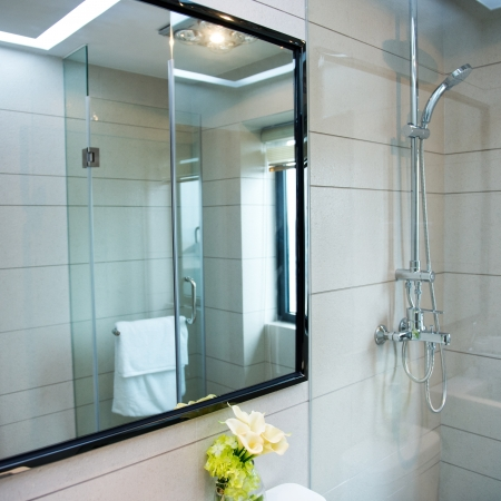 Interior of stylish modern bathroom photo