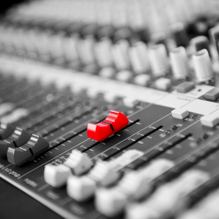 audio mixer: buttons equipment for sound mixer control