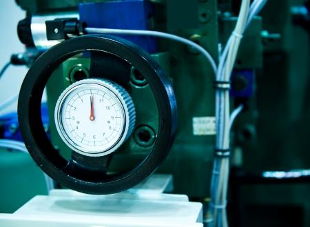 fluids: Pressure gauge, measuring instrument close up.
