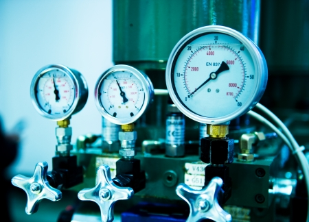 Pressure gauge, measuring instrument close up.  photo