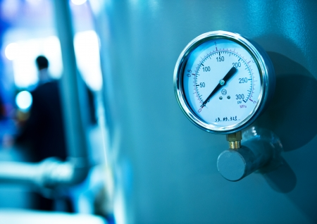 pressure gauge: Pressure gauge, measuring instrument close up.