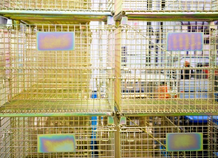 rabbit cage: Group of metal cage together. Stock Photo