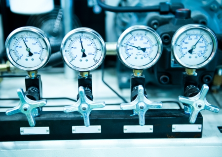 close fitting: Pressure gauge, measuring instrument close up.
