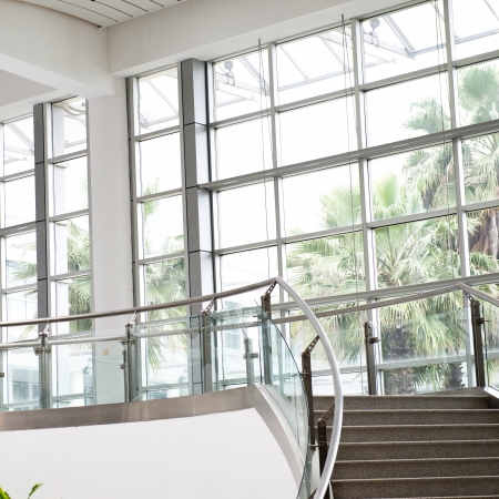 metal handrail: Modern architecture of large business conference center