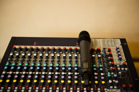 microphone on equipment of sound mixer control. photo