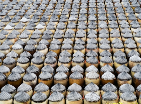 Large group of clay pots together in China. Stock Photo