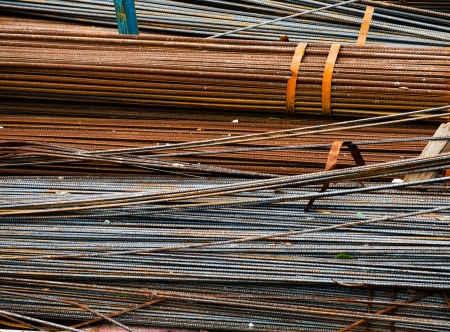 piling: Steel rods or bars used to reinforce concrete. Stock Photo