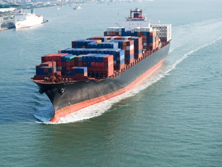Large container ship arriving in port. photo