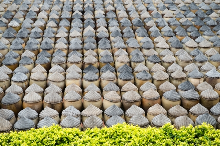 Large group of clay pots together in China. photo