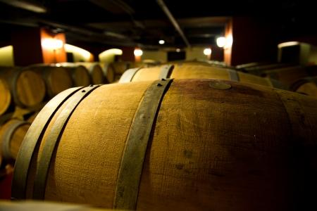 Wine cellar with many wine barrels. photo