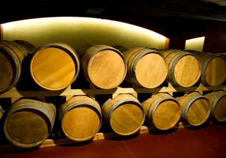 Wine cellar with many wine barrels. photo
