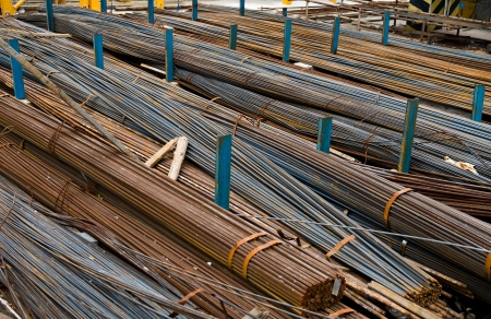 Steel rods or bars used to reinforce concrete. photo