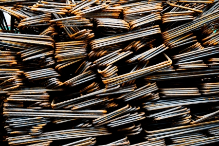 Steel rods or bars used to reinforce concrete. Stock Photo