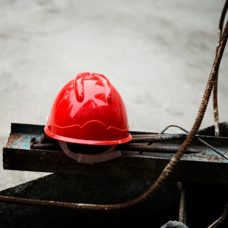 protective helmets: Some construction helmets on work place. Stock Photo