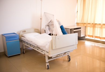 HOSPITAL WARD: A hospital bed waiting the next patient.