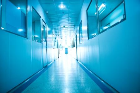 Empty long corridor in hospital. photo