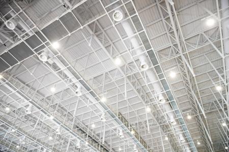 architectural lighting design: modern glass roof inside office center