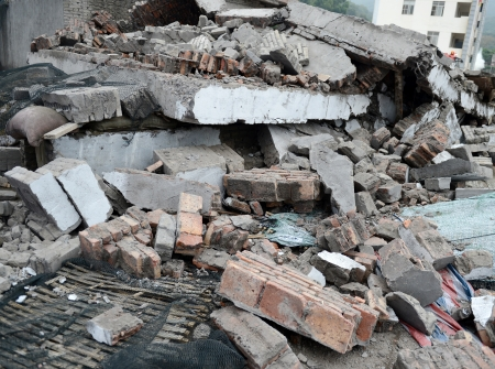 Destroyed building from demolition or earthquake.