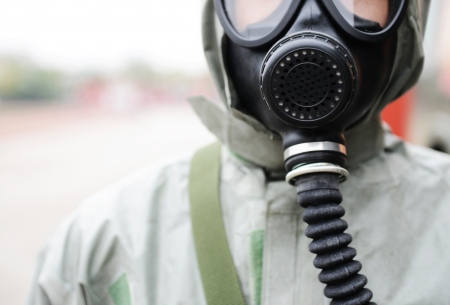 A man in a gas mask.  photo