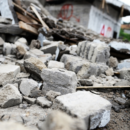 rubble: Destroyed building from demolition or earthquake.