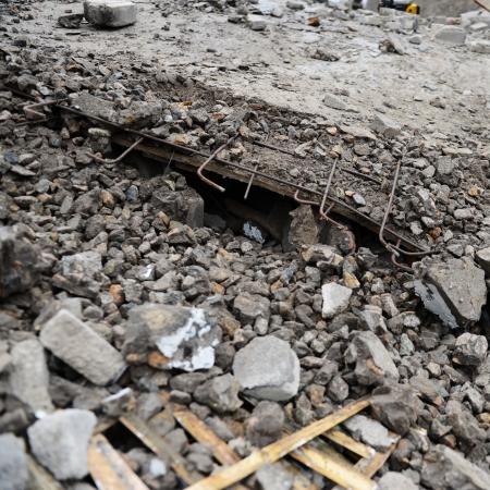 demolished: Destroyed building from demolition or earthquake.
