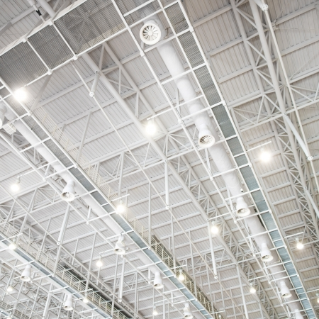 architectural lighting design: modern glass roof inside office center