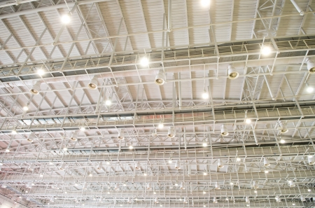 building industry: modern glass roof inside office center