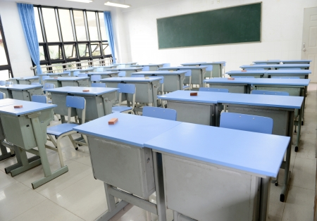 class room: Empty classroom with chairs, desks.  Editorial