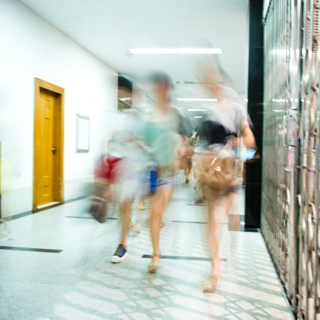 city people: city people walking in the office lobby. blurred motion Stock Photo