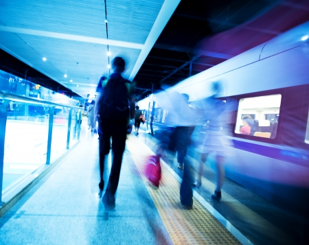 blur subway: People hurrying to catch a train. blurred motion