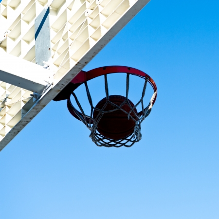 centering: A basketball field goal with the sky in background.