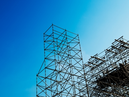 new development: Scaffolding as safety equipment on a construction site.  Stock Photo