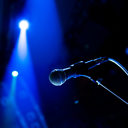 Close up of microphone in concert hall Imagens