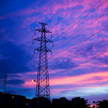 electric power station: Electric power station at sunset.. Stock Photo