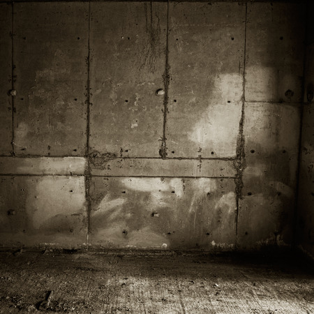 mildew: old grunge concrete wall and floor. Stock Photo
