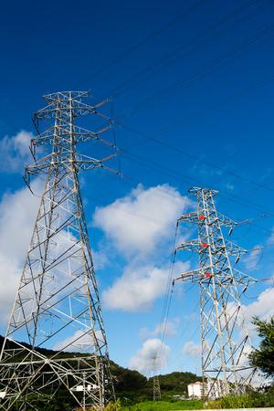 electric power station: Electric power station against bright sky. Stock Photo