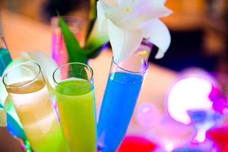 Group of colorful cocktail in glasses. photo