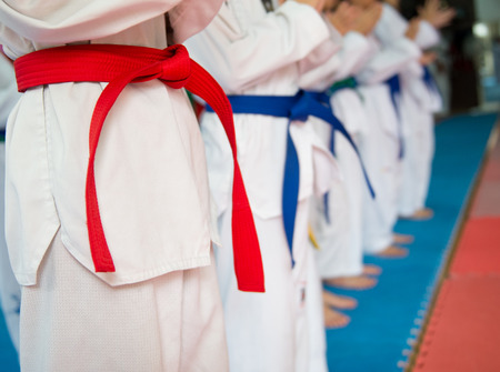 People in martial arts training exercising Taekwondo.