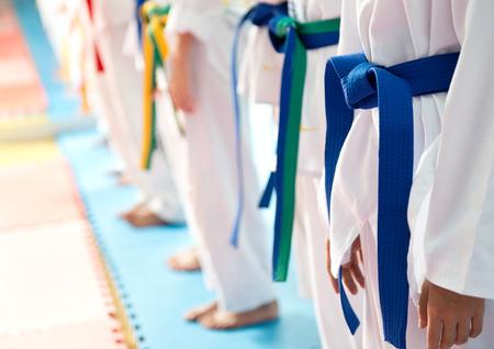 judo: La gente en el entrenamiento de artes marciales ejercicio de Taekwondo.