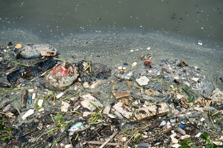 chemical industry: Water pollution in river with trash.