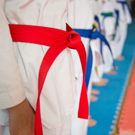 tae: People in martial arts training exercising Taekwondo.