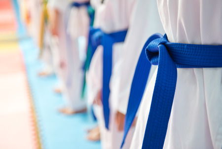 martial: People in martial arts training exercising Taekwondo.