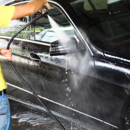 business car: Car wash with flowing water and foam.