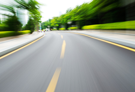 car race track: along the road with motion blur.
